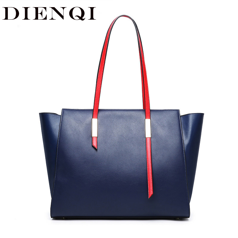 DIENQI Famous Genuine Leather Bag Luxury Handbags Women Bags Designer Tote Shoulder Bags Female Big Leather Handbags Big 2019