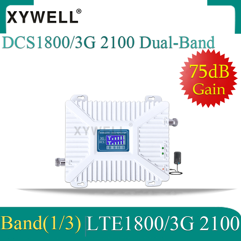 1PCS 1800 2100mhz Dual-Band Booster 3G 4G Cellular Amplifier DCS WCDMA LTE GSM Repeater 3G 4G Mobile Signal Booster