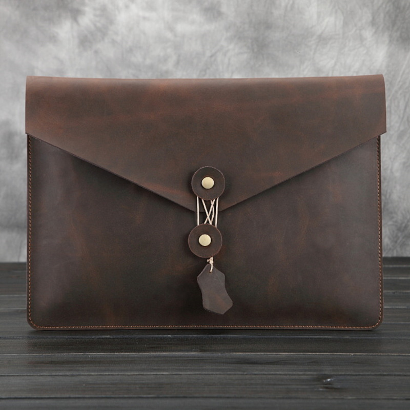 Crazy Horse Man Genuine Leather Briefcase For IPad Pro 12.9 Inch Cowhide Men Bags File Package Envelope Bag A4 Papers IPad Bag