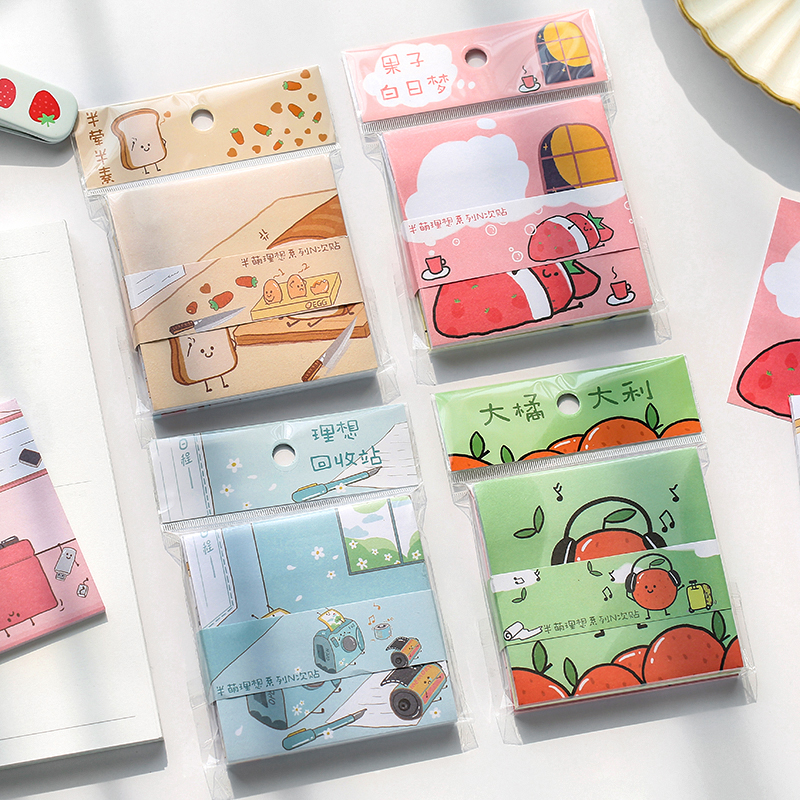 Mr.Paper 30pcs 4 Designs Cartoon Colorful Fruit Memo Pads Self Sticky Notepad Diary Writing Points Creative Notes Memo Pads Deco