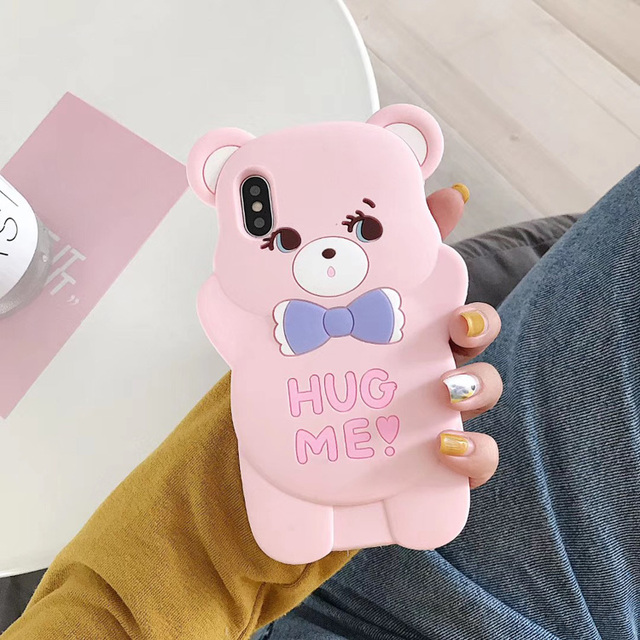 Cartoon 3D Bear Silicone Case for iphone