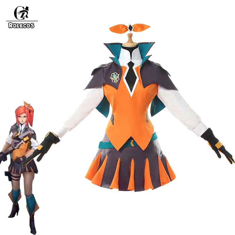 ROLECOS Game LOL Lux Cosplay Costume Battle Academia Lux Suit Costumes For Women Uniform Top Skirt Shoes Cover Full Set