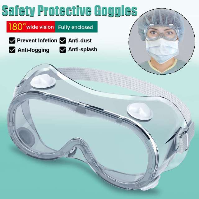 2 Type Protective Safety Goggles Wide Vision Disposable Indirect Vent Prevent Eye Mask Anti-Fog Splash Goggles
