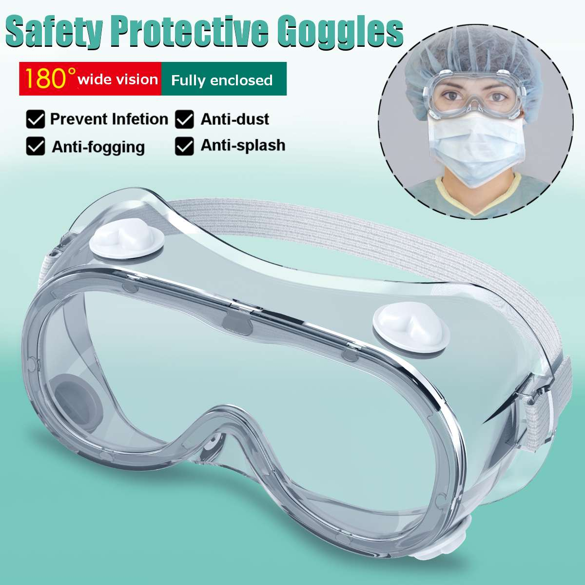 2 Type Protective Safety Goggles Wide Vision Disposable Indirect Vent Prevent Infection Eye Mask Anti-Fog Medical Splash Goggles