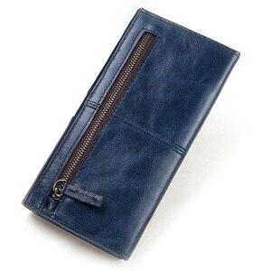 Image 3 - KAVIS 100% hakiki deri kadın cüzdan kadın bozuk para cüzdanı çile Portomonee debriyaj para çantası bayan kullanışlı uzun ücretsiz gravür