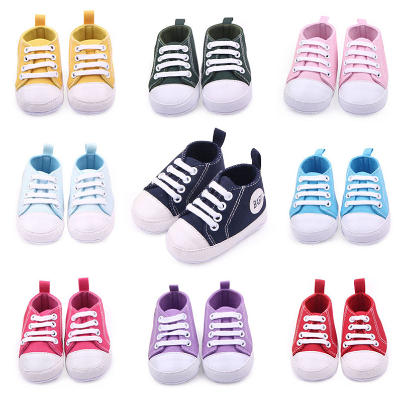 Newborn Classic Canvas Sports Sneakers  Baby Boys Girls First Walkers Shoes Infant Toddler Soft Sole Anti-slip Baby Shoes