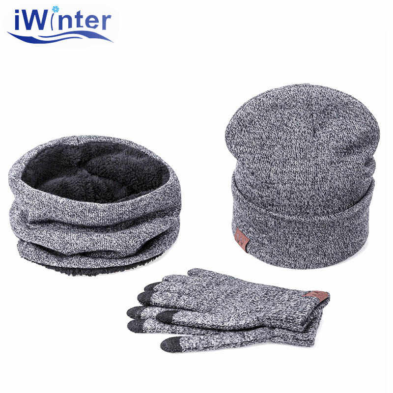 IWINTER 2017 Three Sets Of Winter Scarves Hats For Men Women Winter Warm Hat Thick Scarf Smart Touch Screen Texting Gloves Set