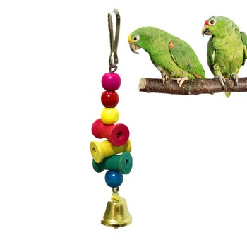 2020 Home Pet Birds Toys Hanging Wooden Parrot Bite Chew Toys Decorative Hanging Ornament Toys with Bell For Bird Nest image