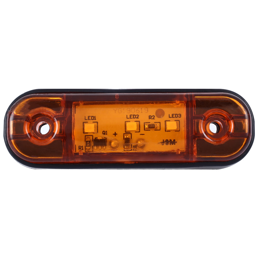 DC12-24v 3 LED Marker Light Warning Light For Truck Trailer Camper RV Waterproof Only Yellow Car Pickup Lamp