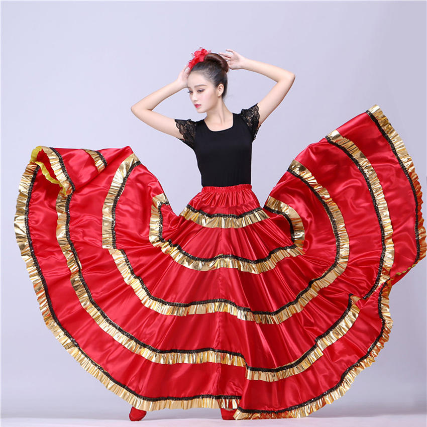 Woman Spanish Flamenco Dress Gypsy Skirt Polyester Satin Smooth Big Swing Carnival Party Ballroom Belly Dance Costumes Dress