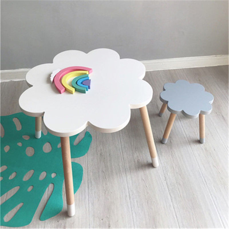 Nordic Kids Study Table For Children Cloud Kids Desk And Chair School Desk Wooden Stool Kids Furniture Home Decoration Accessori