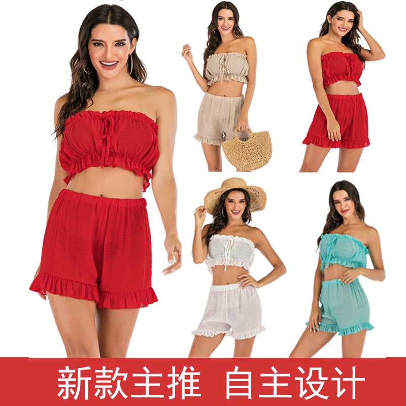 Europe And America Women's Dress New Style Summer Leisure Suit Joint Solid Color Frilled Tube Top Shorts Two Pieces Women's Dres