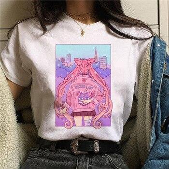 WVIOCE Harajuku Sailor Moon Tshirt Cartoon Cat Printed Womens T Shirt Hip Hop Women Shirts Summer Top Streetwear Female Clothes