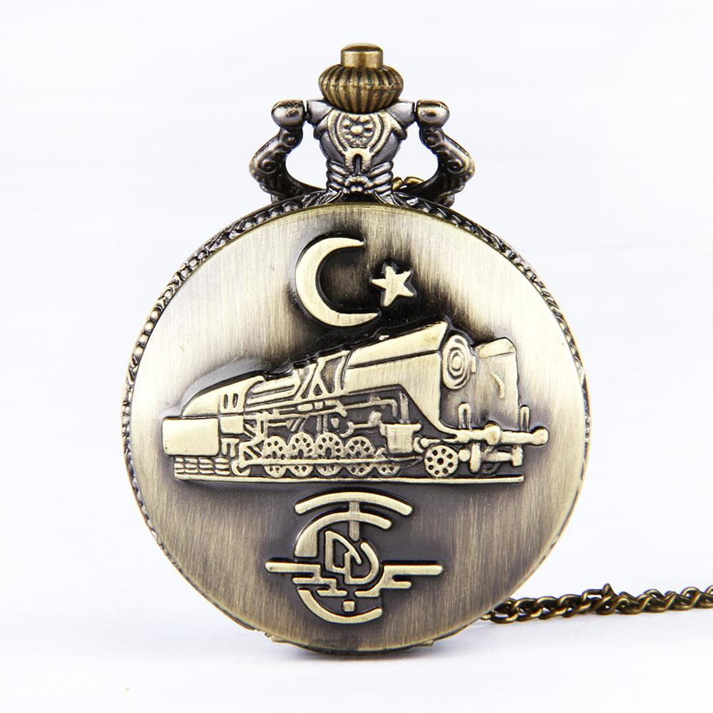 Large Thin Chain Bronze Case Engraving Indian And American Vintage Train Pattern Pocket Watch
