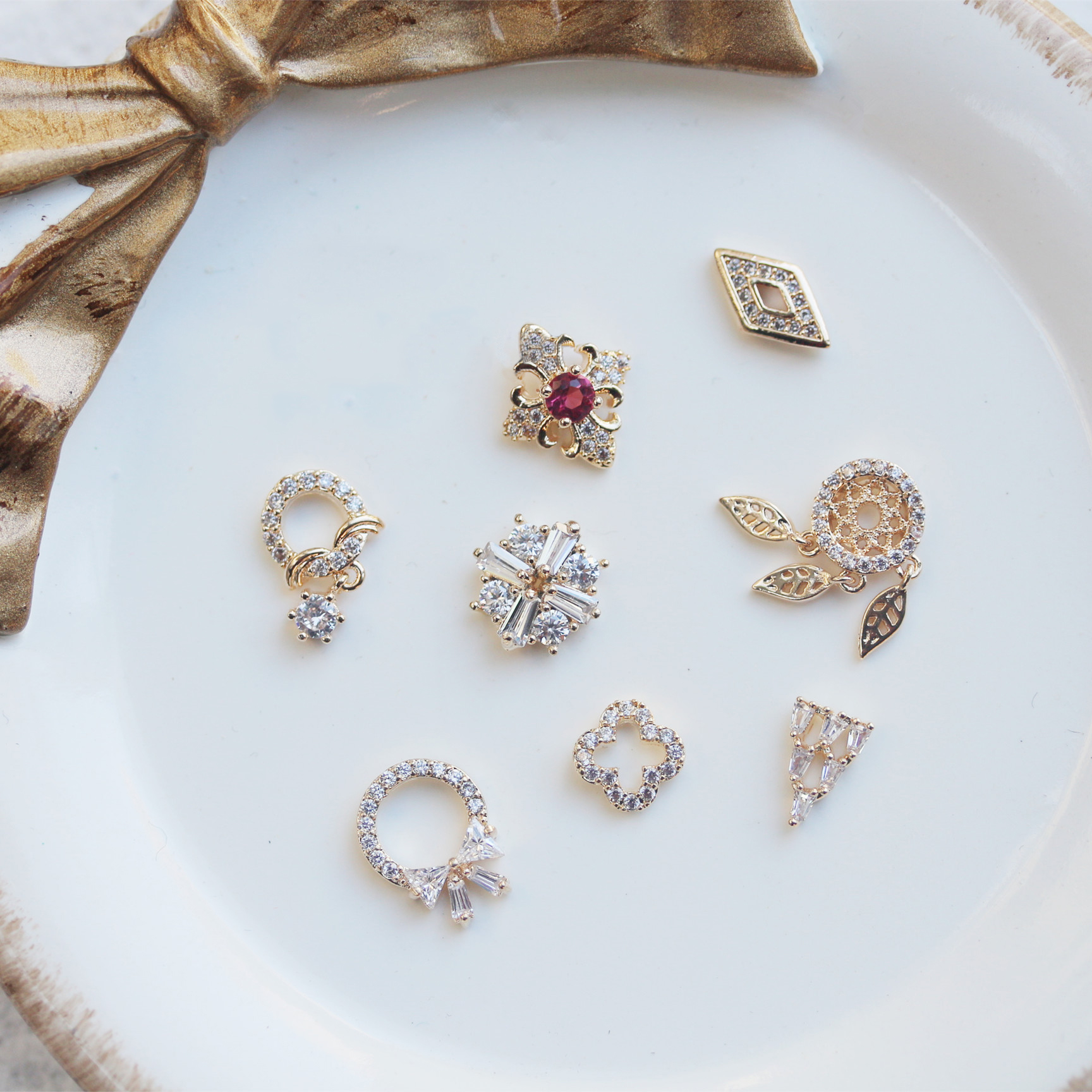 10pcs/lot Ruby Dream Catcher Crystal Zircon Nail Art Rhinestone metal manicure nail accessories DIY Nail Decoration Nails charms