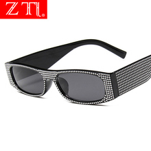 ZT Women Vintage Glitter Narrow Rectangle Sunglasses Designer Luxury Tint Rectangular Sun Glasses Shades Oculos