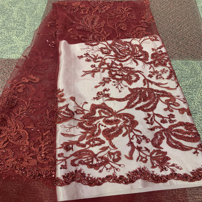 Latest Sliver African Lace Fabric 2019 Embroidered Nigerian Laces High Quality French Tulle Lace Fabric Beaded For Wedding Party