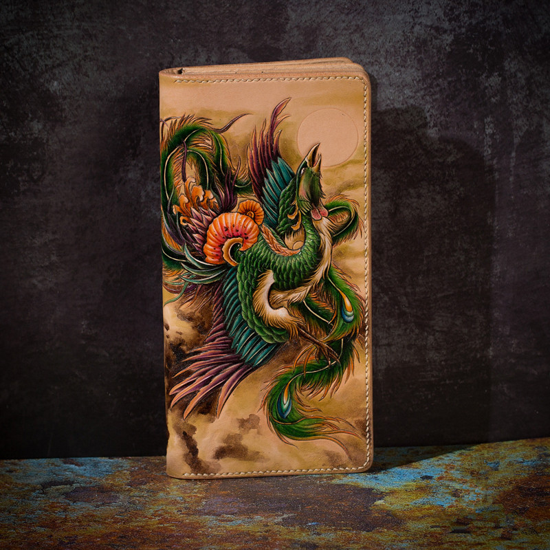 High-end Handmade Wallets Carving Phoenix Purses Men Long Clutch Vegetable Tanned Leather Wallet Card Holder