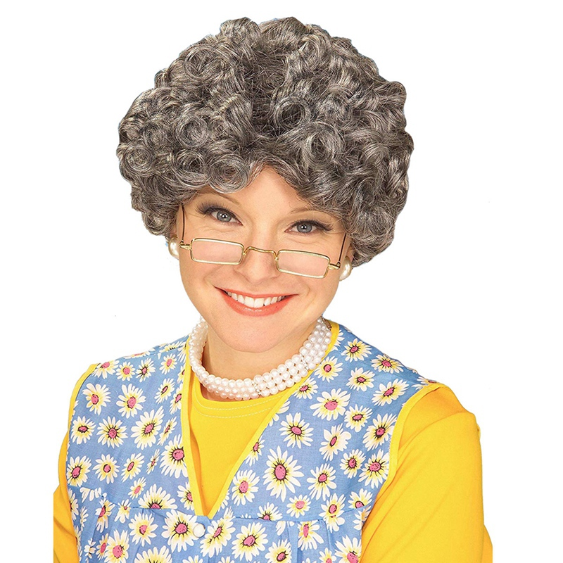 Silver Adult Momma Old Lady Costume Wig Granny