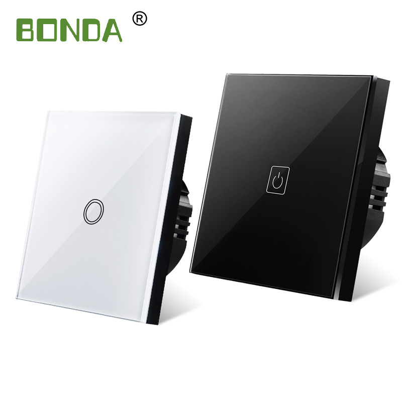 BONDA touch switch, EU standard, white crystal, glass panel, touch switch, Ac220v, 1 set, 1 way, wall light, wall touch screen 6