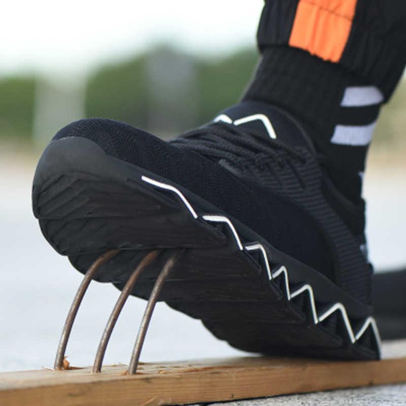 Dropshipping פלדת הבוהן בטיחות נעלי גברים קל משקל נגד למחוץ עבודה יוניסקס לנשימה ללבוש התנגדות סניקרס גברים וגם וו