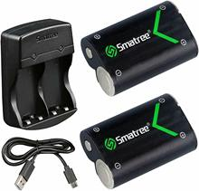 Smatree Rechargeable NI MH Battery 2000mAH (2 Pack) and Dual Channel Charger for Xbox One/Xbox One S Wireless Controller High Ca