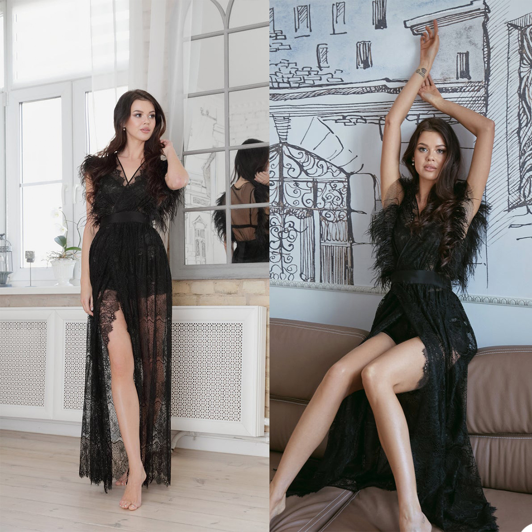 Sexy Women Night Gown Custom Made Short Feather Sleeve V Neck Backless Robe With Belt For Photo Bath Wear Pajamas