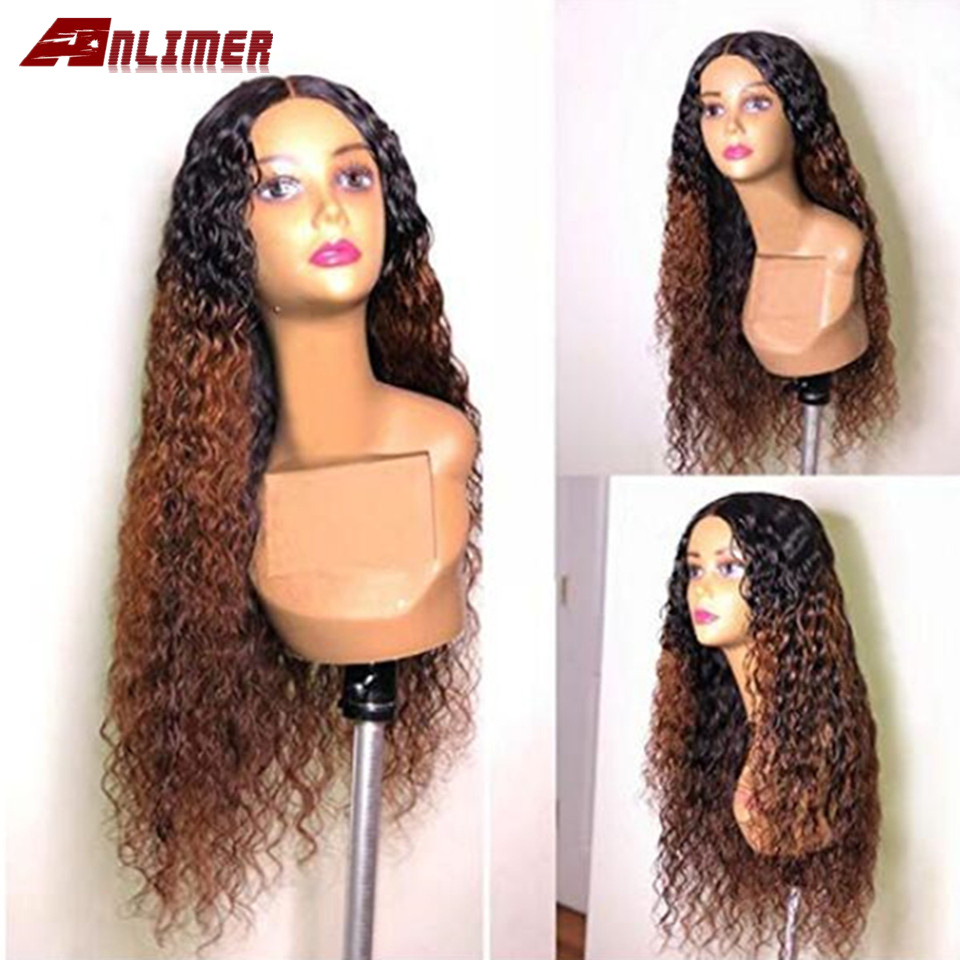 13x6 Ombre 1b/30 Lace Front Human Hair Wigs With Baby Hair Brazilian Preplucked Remy Hair Ombre Water Wavy Wig