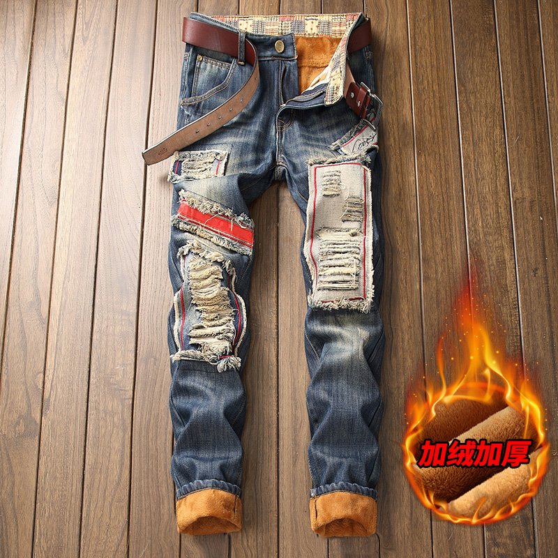 Blue Jeans Men Jean Homme Winter Jeans For Men Denim Warm Brushed Winter Ripped Hombre Vaqueros Fashions Special Men'S Slim Fit