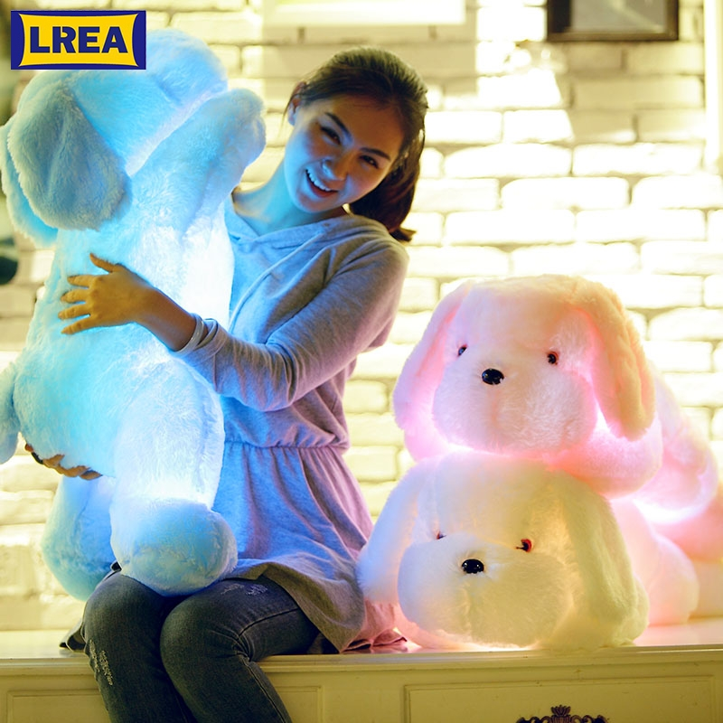 LREA 1pc 50cm Cojines Plush Luminous Toys Dog Cushion Colorful LED Glowing Dogs Comfotable And Soft For Sofa Or Bed