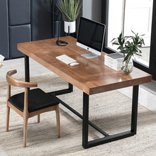 Modern Computer desk office table working table bedroom study table Iron frame solid wood countertop 120X60X75cm