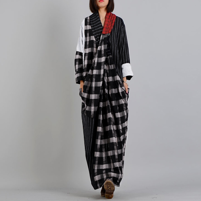 ZANZEA Spring Women Vintage V Neck Long Sleeve Patchwork Sundress Retro Plaid Checked Long Dress Kaftan Vestido Robe Femme Dress
