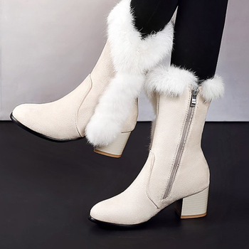 big size 44 hot winter warm snow boots fashion platform fur plush shoes low heels mid calf boots women down black red shoes New Winter Women Boots Casual Warm Fur Mid-Calf Boots shoes Women Slip-On Round Toe wedges Snow Boots shoes Muje Plus size 45