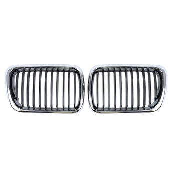 1 Pair For BMW 3 Series E36 1997-1999 Gloss Silver Frame Black M Color Front Kidney Car Racing Grill Grille Bumper Car-styling image