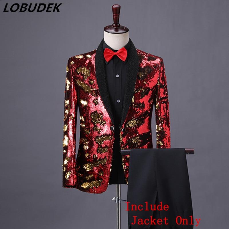 Shiny Red Flip Sequins Shawl Collar Tuxedo Sequined Coat Men Wedding Groom Singer Prom Glitter Suit Jackets DJ Club Stage Blazer