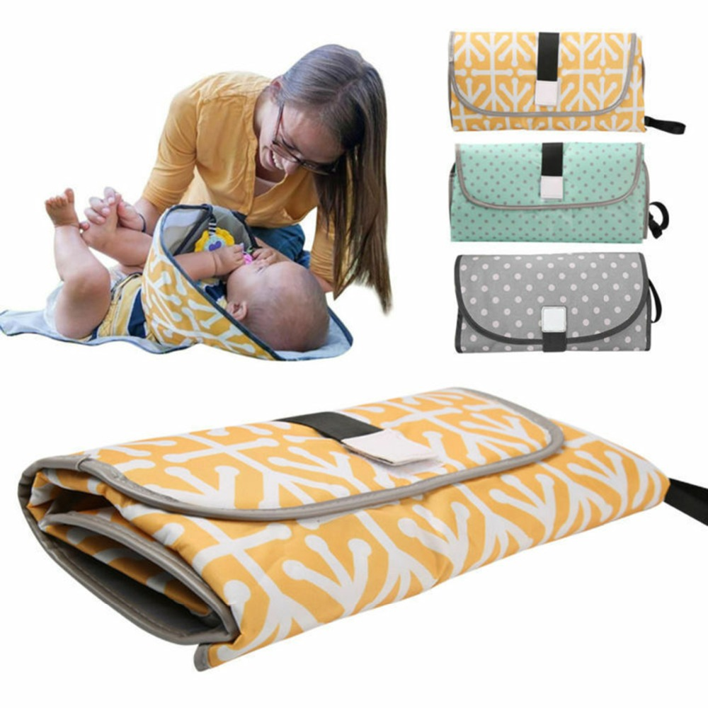 Drop Shipping Portable Diaper Changing Pad Clutch For Newborn Foldable Clean Hands Changing Station Kit Waterproof Travel Mat