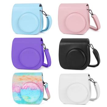 Kolorowa torba ze skóry PU pokrowiec ochronny z regulowanym paskiem na ramię do Instax Mini 11 Film natychmiastowy kamera akcesoria tanie i dobre opinie alloet BŁYSKAWICZNY APARAT FOTOGRAFICZNY CN (pochodzenie) torby na ramię Torebki na aparat Blue Pink Purple Black White Rainbow color(Optional)