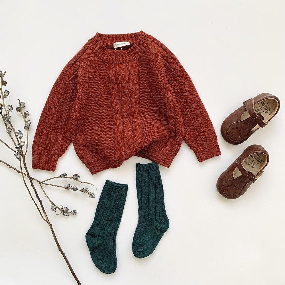 Winter Baby Kids Boys Girls Pullover Sweaters New 2021 Autumn Kids Boys Girls Long Sleeve Knit Hemp Flowers Sweater 1
