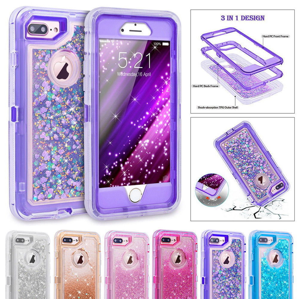 Hybrid 3D Glitter Armor Case for iPhone 8 6 6S 7 Plus X XS Max 11 Pro Max XR Ten Dynamic Quicksand Shockproof Phone Cases Covers