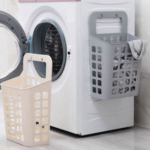 Japanese Style Sucker Hanging Laundry Basket Dirty Clothes Storage Basket Plastic Storage
