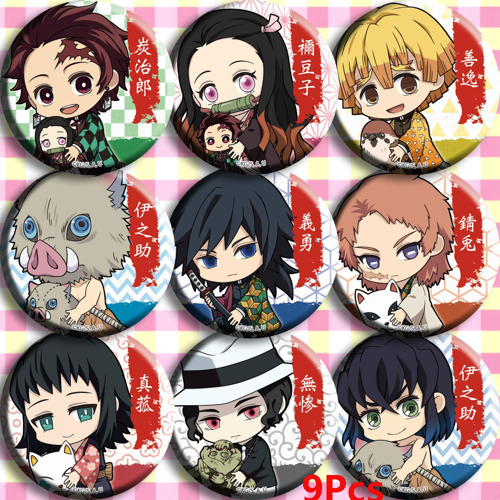 Anime Demon Slayer: Kimetsu No Yaiba Kamado Tanjirou Cosplay Bedge Cartoon Collect Backpacks Bags Badges Button Brooch Pins Gift