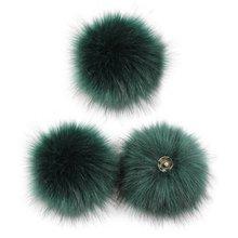 3 шт 10 см diy красочный меховой помпон с кнопкой для шляпы