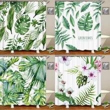 Verde plantas tropicais tecido cortinas de chuveiro do banheiro poliéster à prova dwaterproof água banho cortina folhas impressão cortinas decoração casa