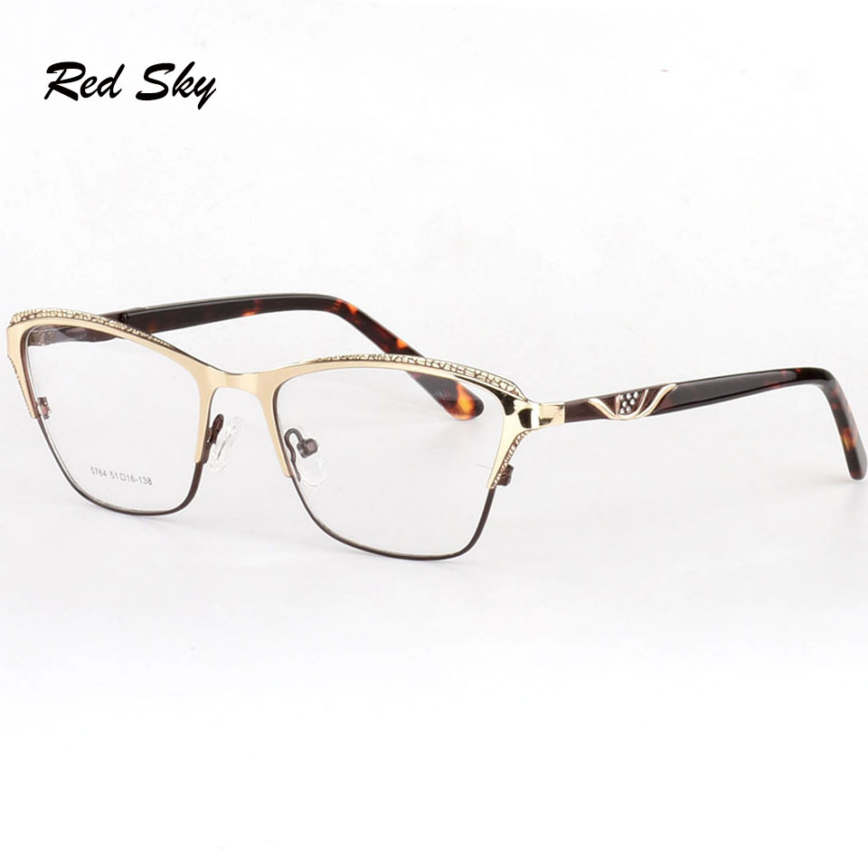 Optical Glasses Spectacle Frame For Men Women Cat Eye Glasses Prescription Frame Crystal Diamond Frame Luxury Brand Designer