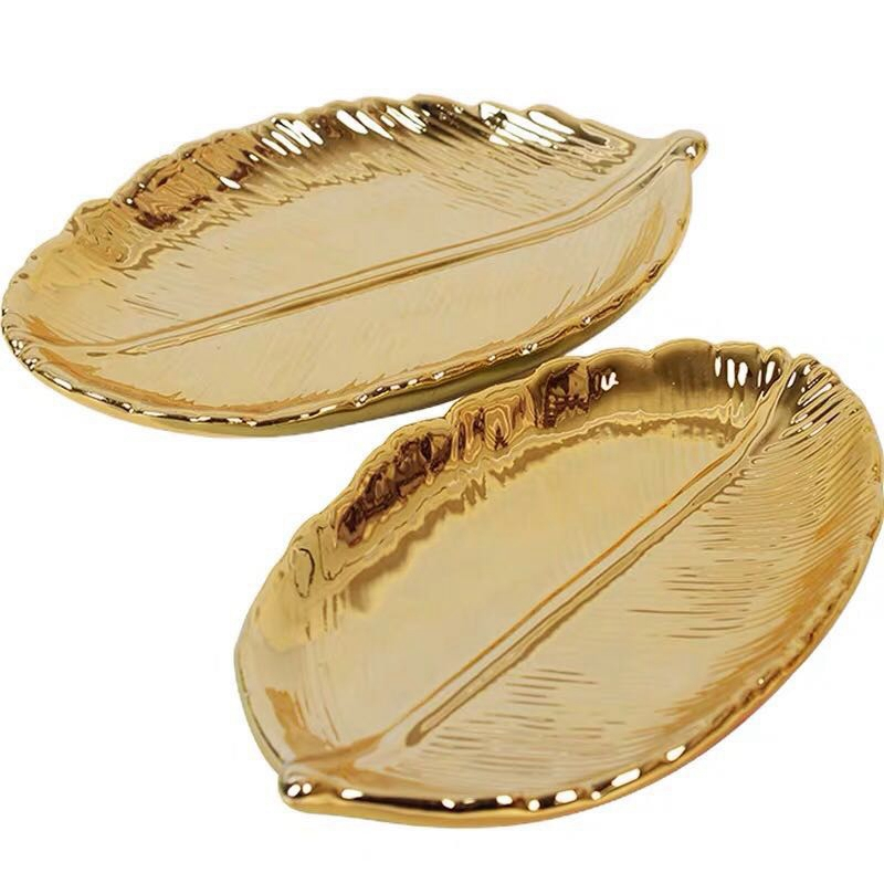 Decorative Gold Leaf Ceramic Plate Dish Porcelain Candy Trinket Dish Jewelry Fruit Serving Tray Storage Plate Crockery Tableware