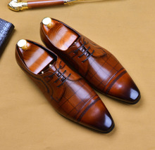 2019 Handmade Luxury Italian Brand Men's Oxford Shoes Wedding Party Men's Dress Shoes Designer Male Genuine Leather Formal Shoes