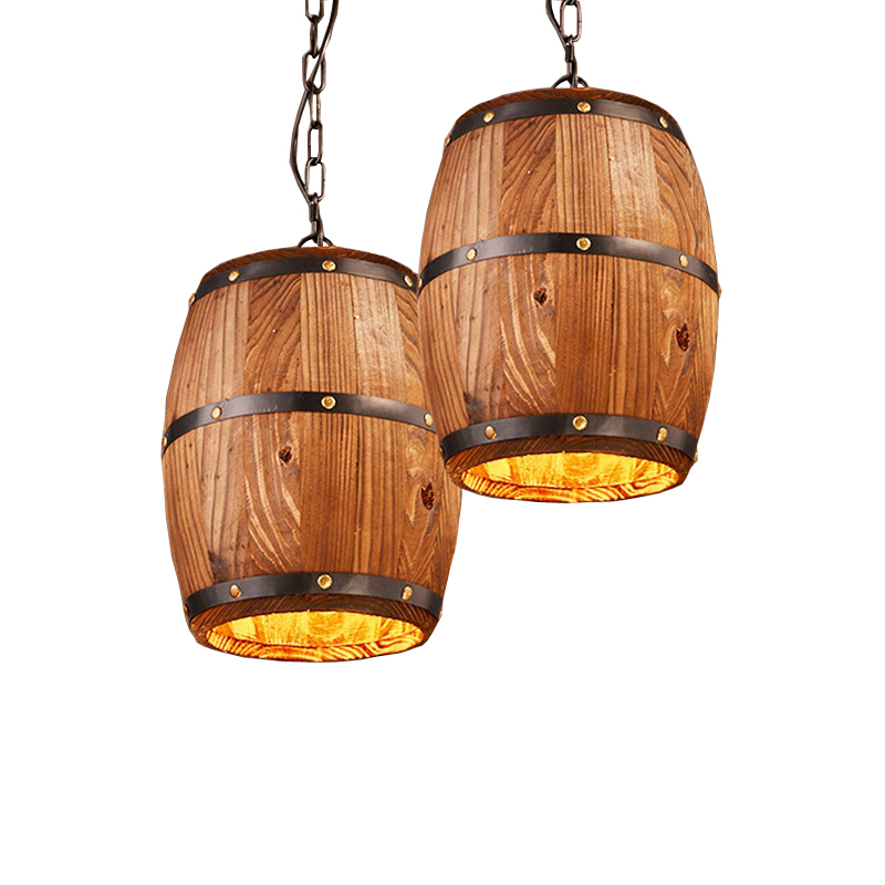 Creative Wood Cask Pendant Lamp Vintage Dining Room Kitchen Pub Restaurant Bar Club Cafe Lamps Chandelier Wine Cellar Light