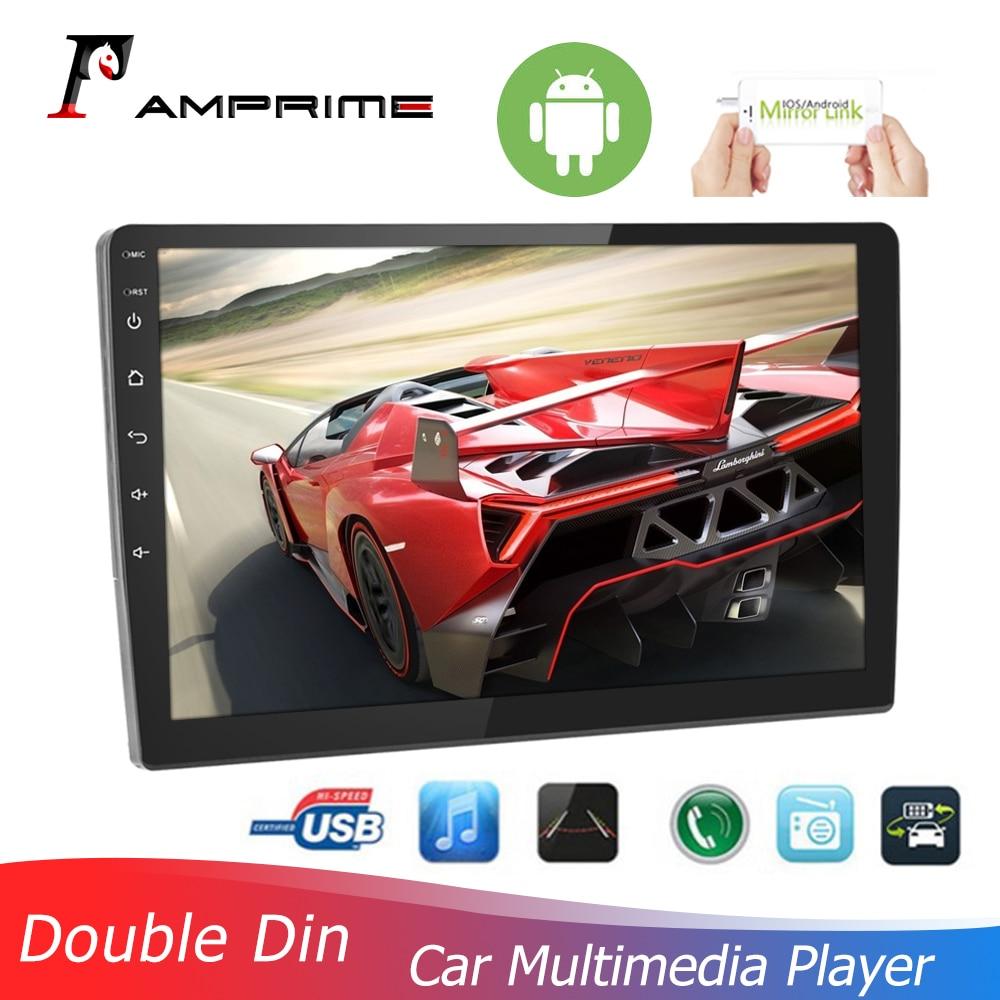 AMPrime 10 дюймов 2.5D Закаленное стекло зеркало автомобиля MP5 плеер 2 Din Android 8,1 GPS Радио авторадио с Bluetooth WIFI GPS FM радио