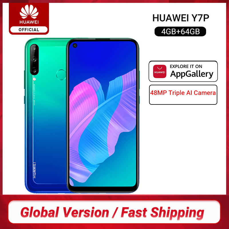 Global Version Huawei Y7p Smartphone 4GB 64GB 6.39 inch 48MP Triple AI Camera Fingerprint Unlock CellPhones 4000mAh