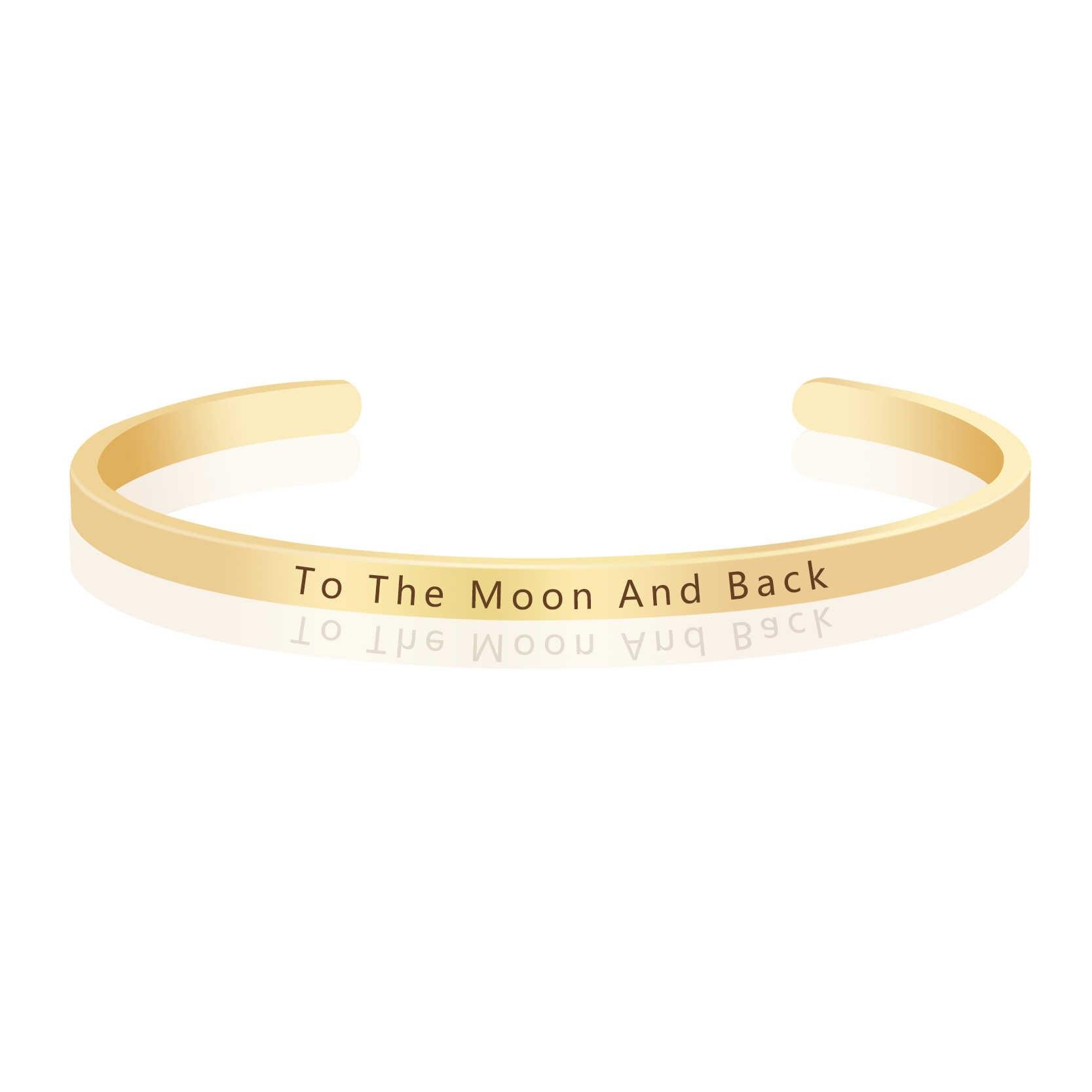 לירח ובחזרה חקוק השראה חיובי ציטוט צמידי קאף צמיד צמידי אופנה גברים נשים נסיעות אבזרים